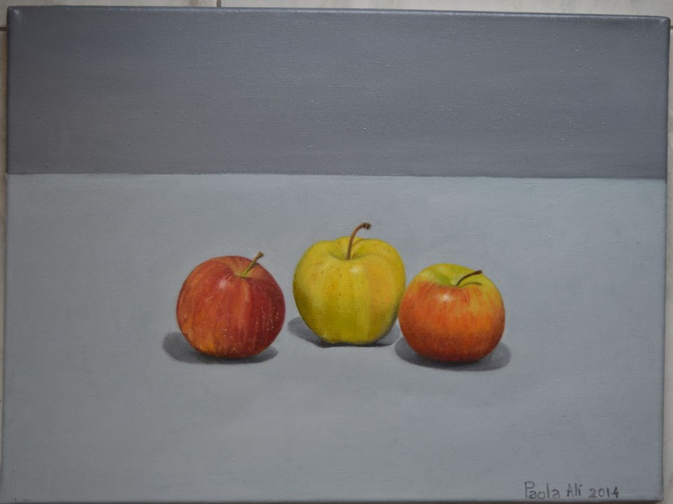 the 3 gossips apples still life oil painting by Paola Ali' - Image 0