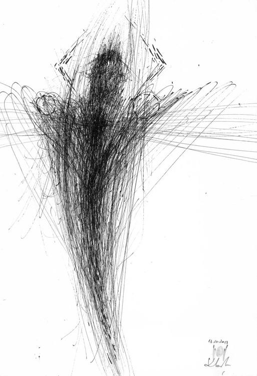 SPONTANE VIBRATING LINES INK ORIGINAL DRAWING ANGEL THEME DESIRE TO FLY BY MASTER OVIDIU KLOSKA AFORDABLE ART - Image 0