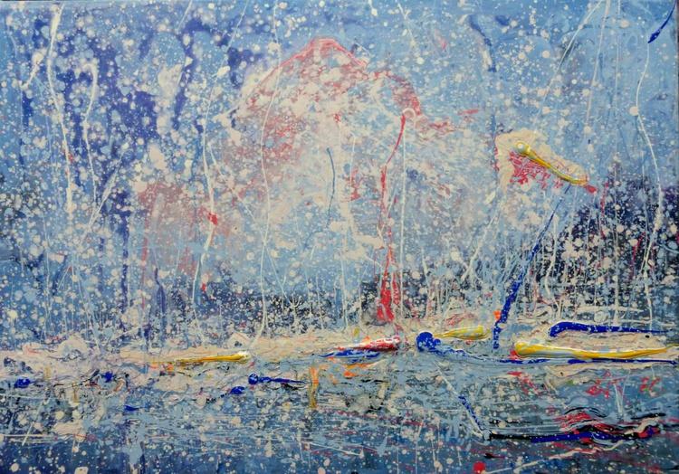 Yachts, large painting 100x70 cm - Image 0