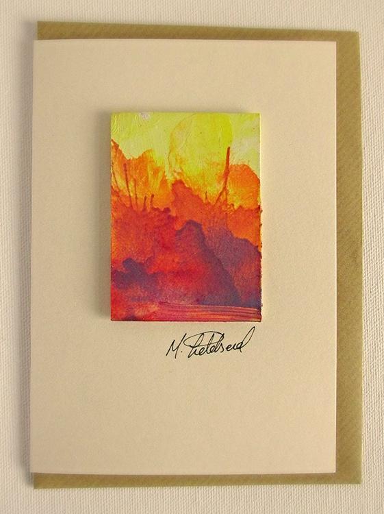 Hand painted greetings card - Original painting - - Image 0