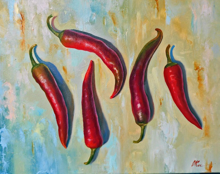Hot Peppers/Still Life/Original oil on canvas/Free Shipping - Image 0