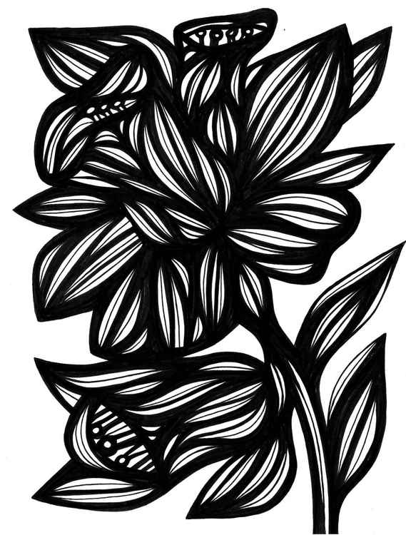 Efficacious Florals Original Drawing -