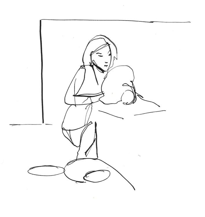 Woman crafting #1, 16x17 cm - Image 0