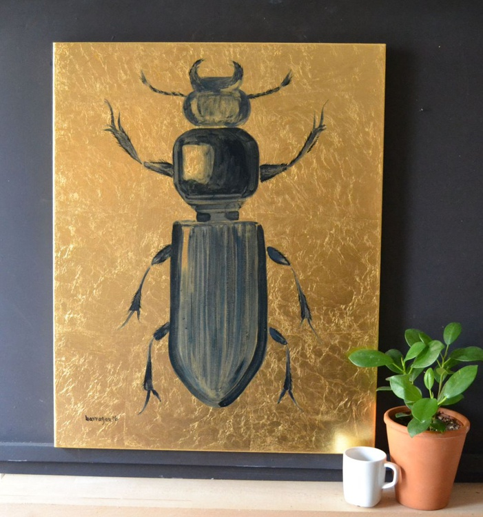 The Golden Beetle Oil Painting on Lacquered Golden Leaf Canvas - Image 0