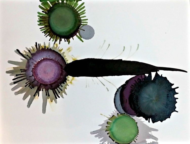 Balance // Inky Goodness Floral Series // Ink painting on archival paper - Image 0