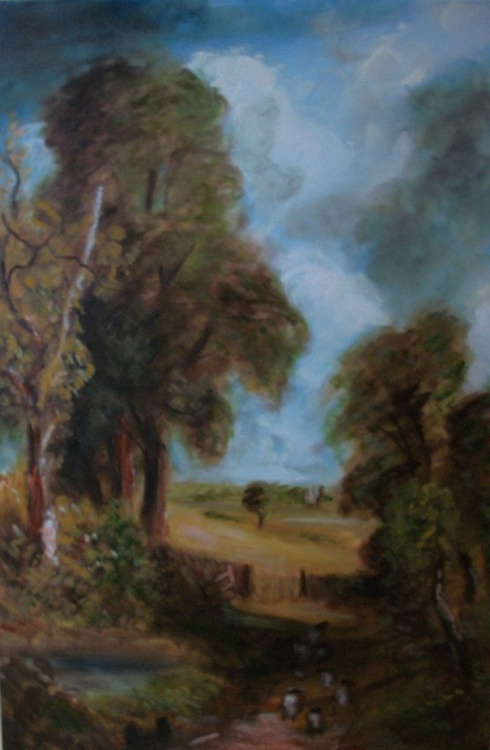 """Oil Sketch of Constables """"The Cornfield"""" (30x20 inch) - Image 0"""
