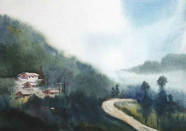 Monsoon Himalaya Village - Watercolor on Paper -