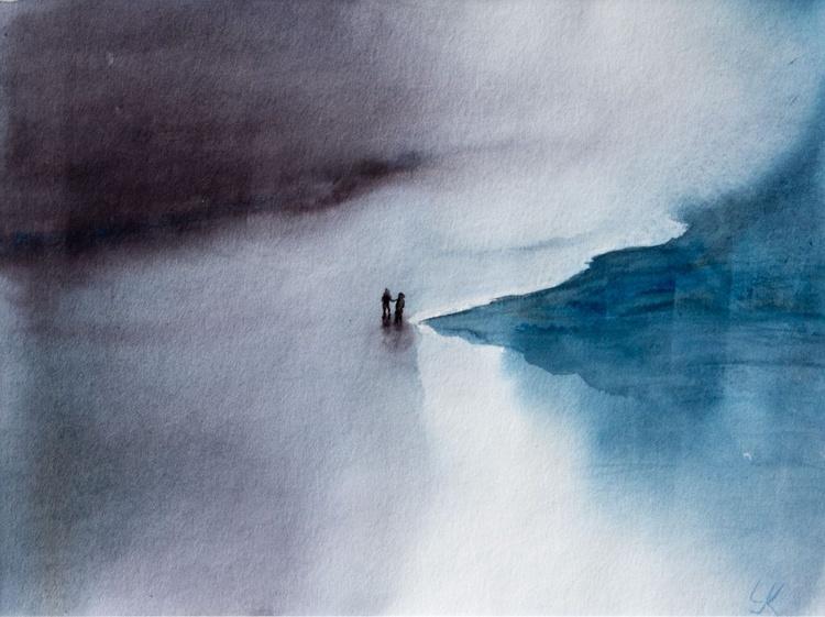 """Ocean silence"", original watercolour painting, 15.7""x 11.8"", ready to hang - Image 0"