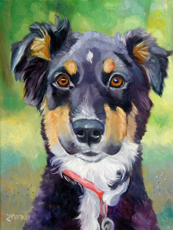 English Shepherd Dog Original Fine Art Painting 11x14