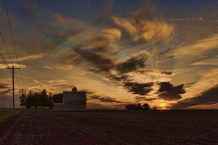 Roadside Sunset in the American Heartland