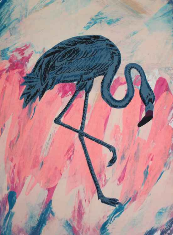 Feathered Standing Blue Flamingo -