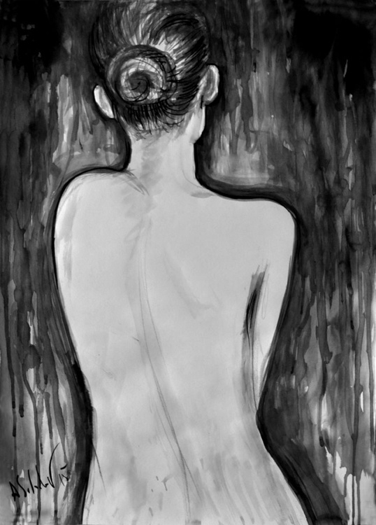 Cello. Nude Model from the Back. - Image 0