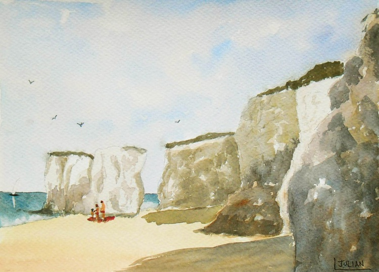 On the beach at Botany Bay, Kent. An original painting of the chalk cliffs and stacks! - Image 0