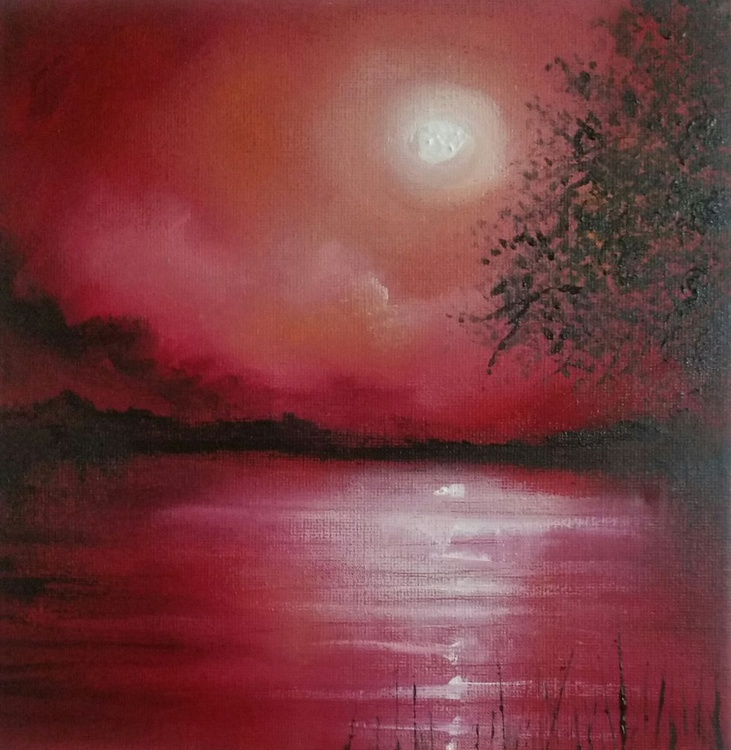 Red moonlit lake - Image 0
