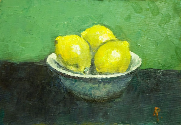 Three Lemons in a Bowl - Image 0