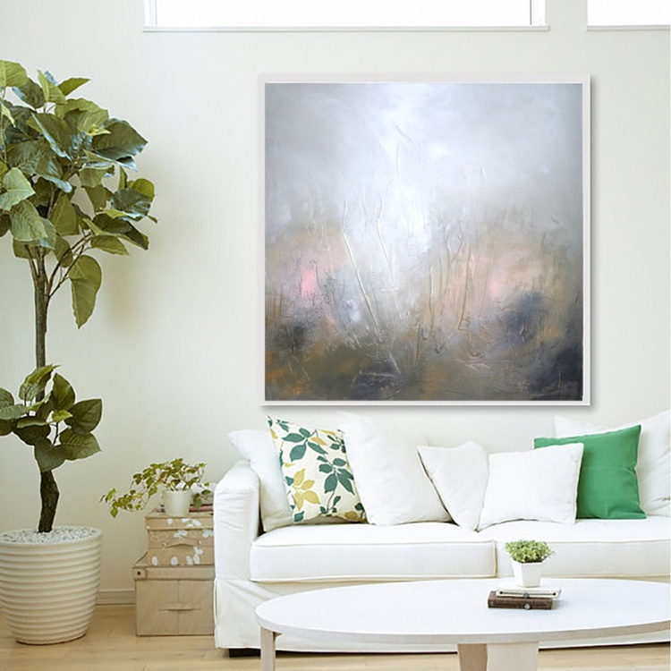 Spring sunshine textured abstract painting - Image 0