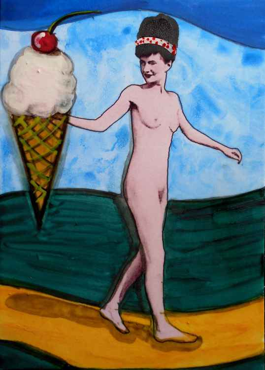 Lady Stephen and the Rather Large Ice Cream Cone Original Painting #3 of Series of 6 -