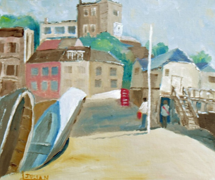 """The Jetty and Bleak House, Broadstairs Kent. An original oil painting 12"""" x 10"""" Lovely gift! - Image 0"""