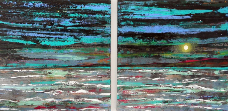 Sea green Storms and Moonlight Solace - Large painting on two panels (Diptych) - Image 0