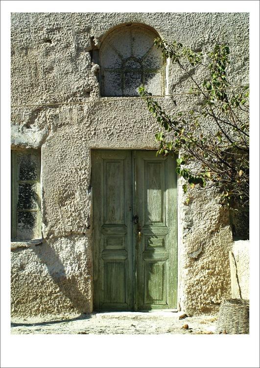 Green Greek Door, Santorini - Image 0