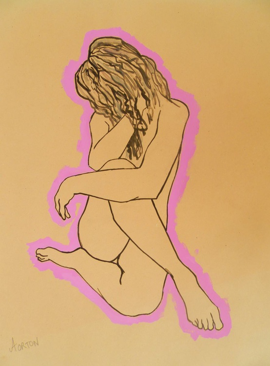 Female Nude Original Water Colour Figure Study Female Model Life Drawing Pink Outline - Image 0
