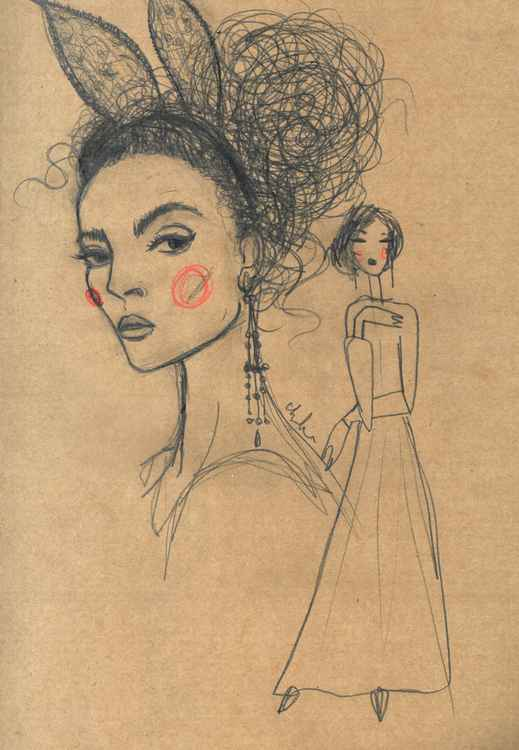 Pencil fashion sketch on brown paper -