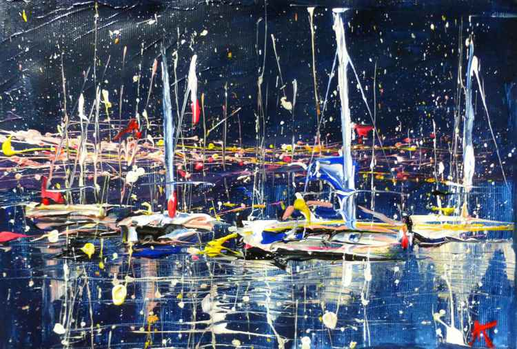 Night Yachts, original painting 30x20 cm -