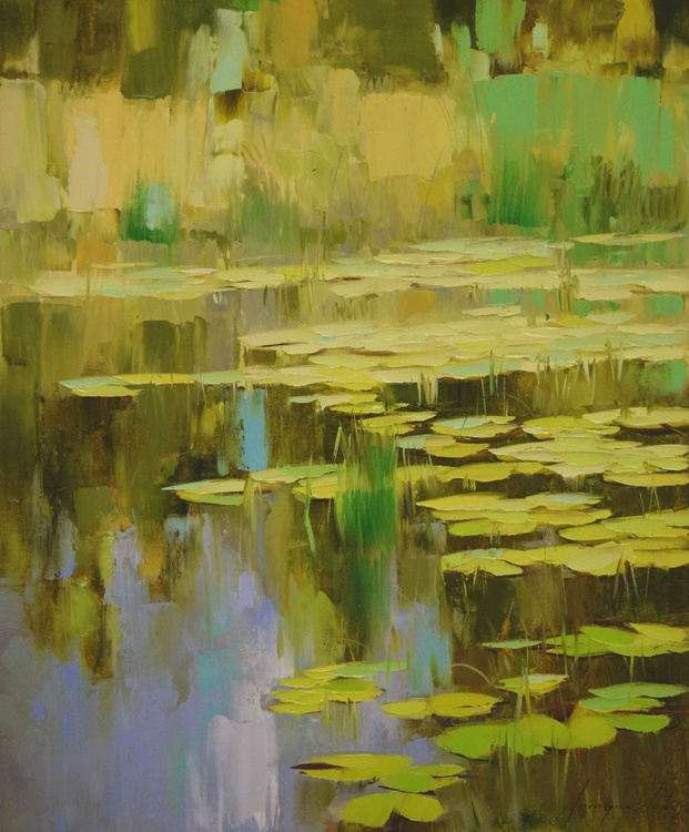 Water lilies - Sunny Day Original oil Painting Handmade artwork One of a Kind - Image 0