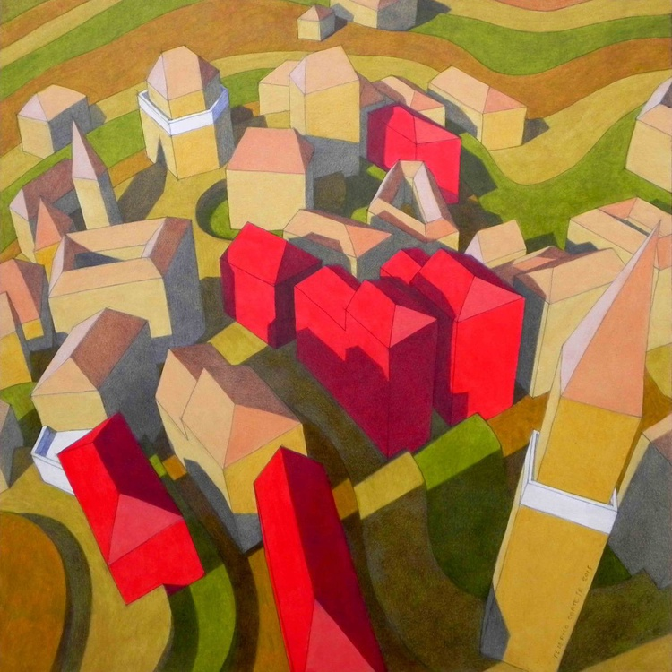 virtual model with red houses - Image 0