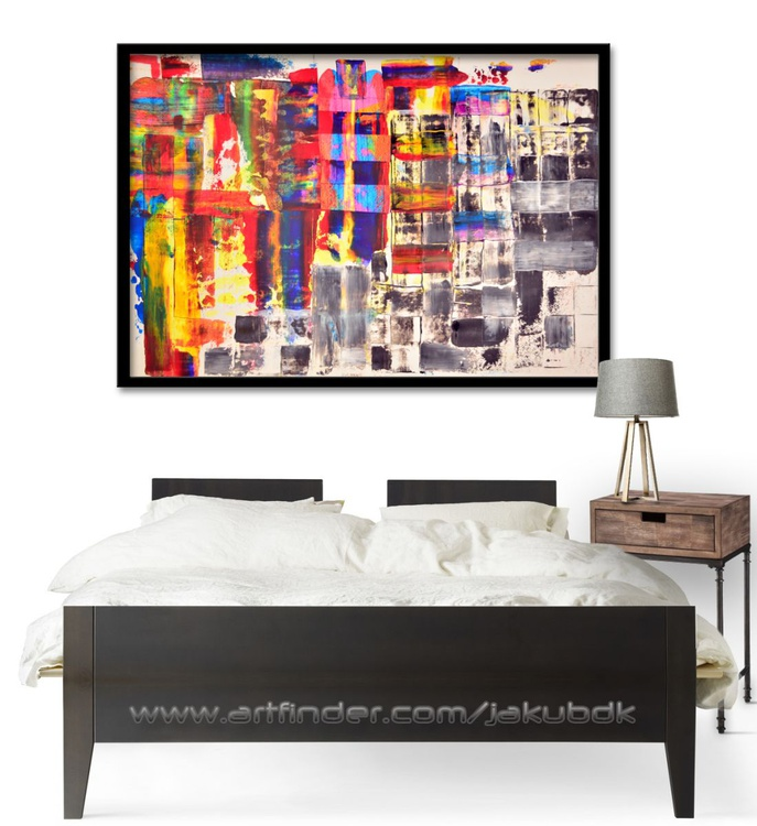 Joy and Sadness - Acrylic Abstract Art Painting On Large Size Paper - Image 0