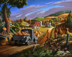 Taking Pumpkins To Market farm landscape by Walt Curlee