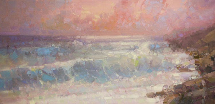 Sunset on South Bay Handmade Original oil painting on Canvas One of a kind Large size - Image 0