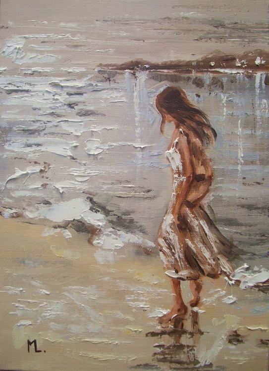 """ WALKING ... "" original painting palette knife GIFT MODERN URBAN ART OFFICE ART DECOR HOME DECOR GIFT IDEA - Image 0"