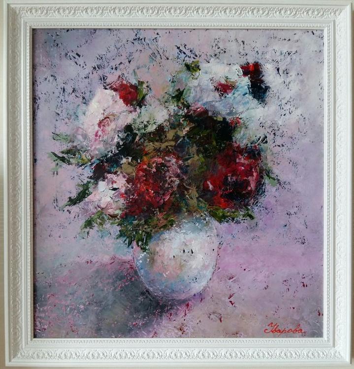Roses, 50x53 cm, framed. FREE SHIPPING - Image 0