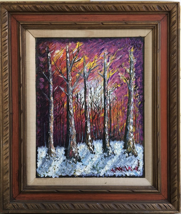 Moon over Snowy Winter Forest - Image 0