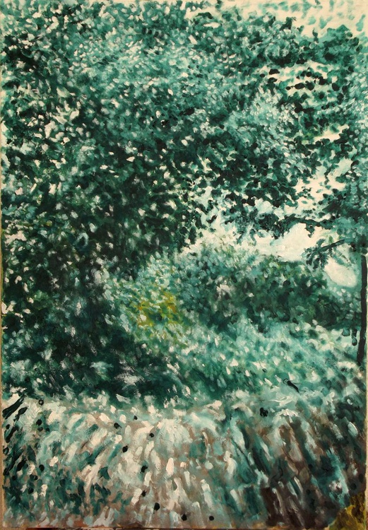 Green Foliage (Corner from my home city) - A side view from my country - Large scale thick oil painting  (70x100 cm) - Image 0