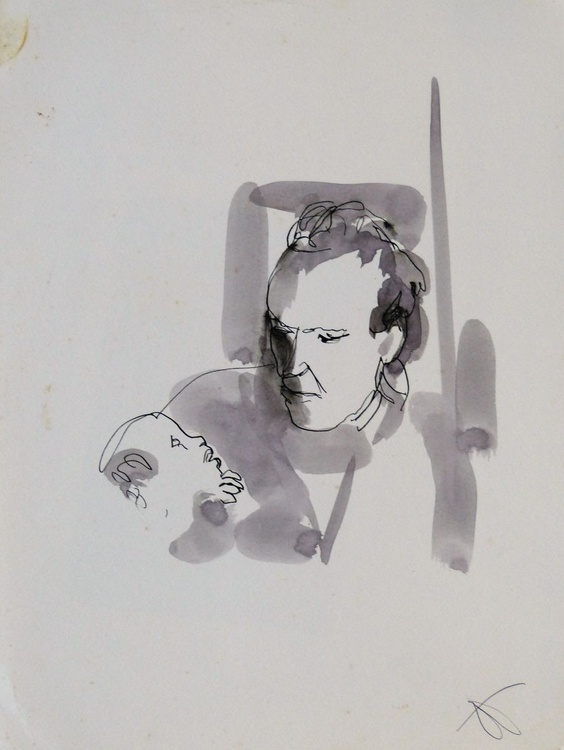 Father and son, 24x32 cm - Image 0