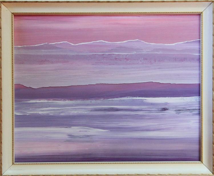 Salish Sea, Collage Painting, vintage frame - Image 0