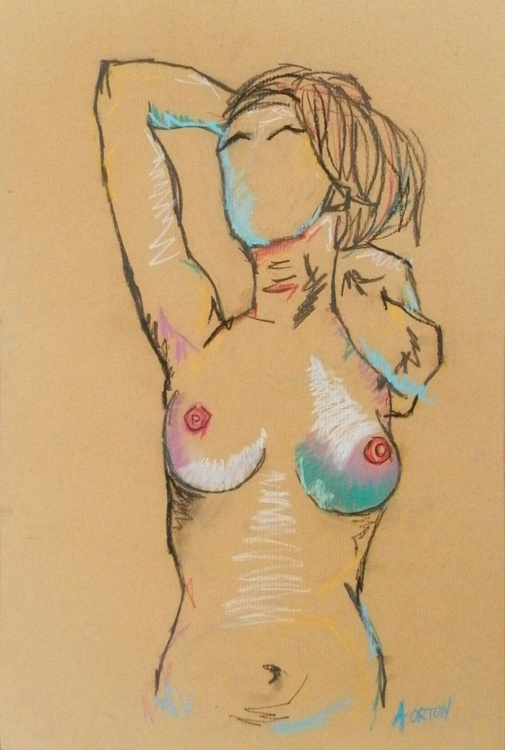 Nude Art Standing Female Nude With arms Raised Pastel Life Drawing Gesture Study - Image 0