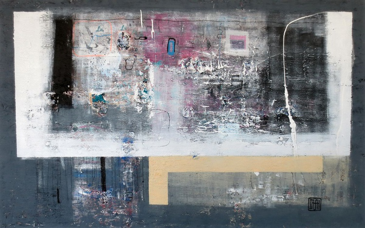 A63 Contemporary abstract minimalist Spiritual Architecture Landscape Acrylic on canvas Large Painting - Image 0