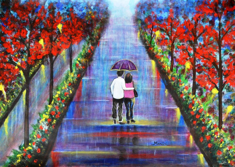 Love Blossoms romantic painting - Image 0
