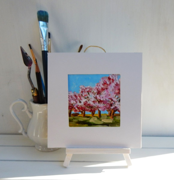 Cherry Blossom. Landscape Miniature. Easel is included. Gift painting. Ready to hang. - Image 0