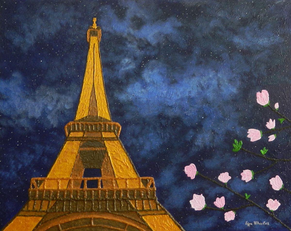 Romance in Bloom - Unique location, Eiffel Tower Magnolia ...  Eiffel Tower Painting Landscape