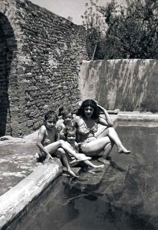 Celia & Kids in Pool, c. 1947 • Samuel Gutierrez, Foto Estudio Paris, Jalisco, Mexico • Silver Rag Print