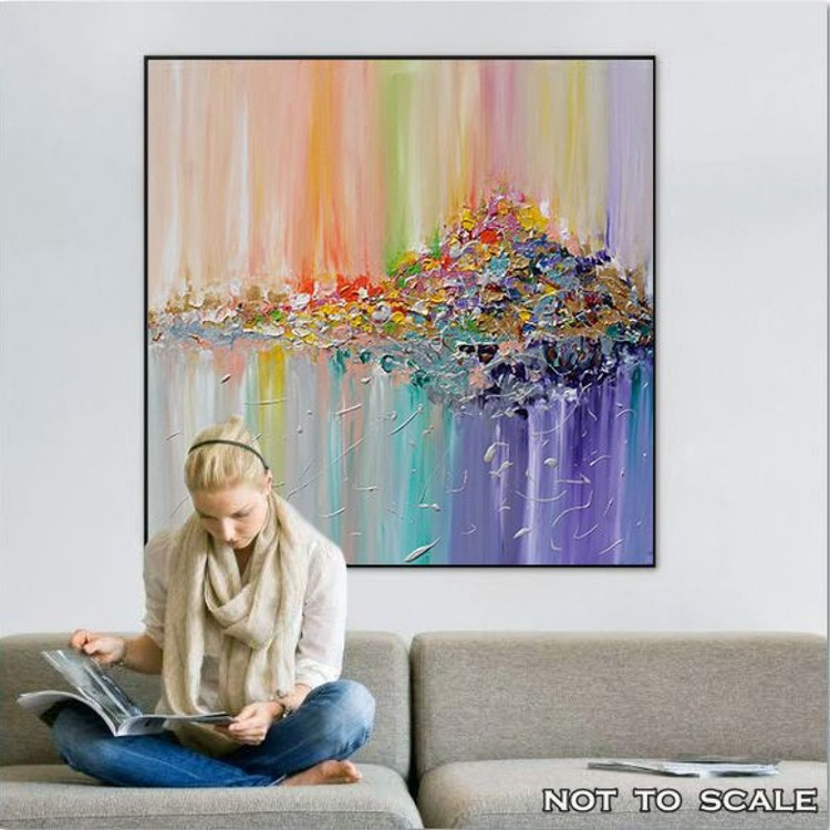 Original Abstract Painting, Colorful Abstract Painting, Abstract Landscape Art, Surreal Abstraction, Modern Painting, Hand-painted, Ready to Hang, Rich Texture, Palette Knife, Contemporary, Canvas Art, Multicolored, Floral, Zen, Modern Wall Decor ''Vision of landscape'' - Image 0