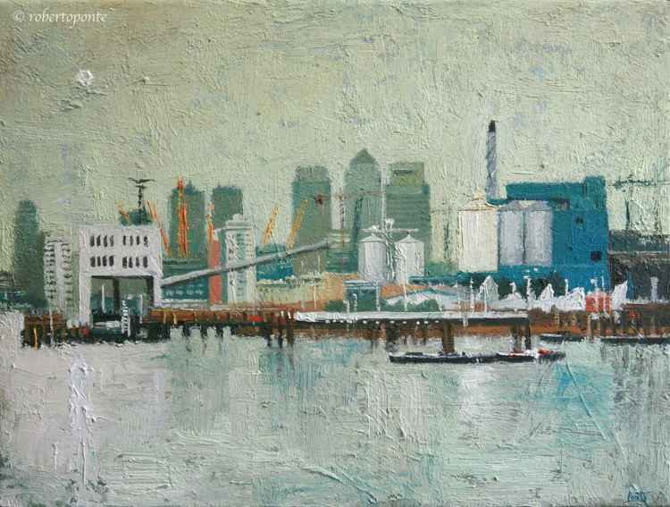 View of Canary Wharf from Woolwich. Oil on Canvas