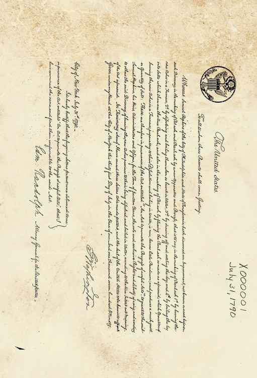First US Patent Ever Lodged 1790 -