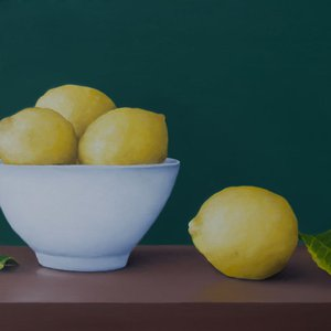 Still life with lemons and bowl by Damien Venditti