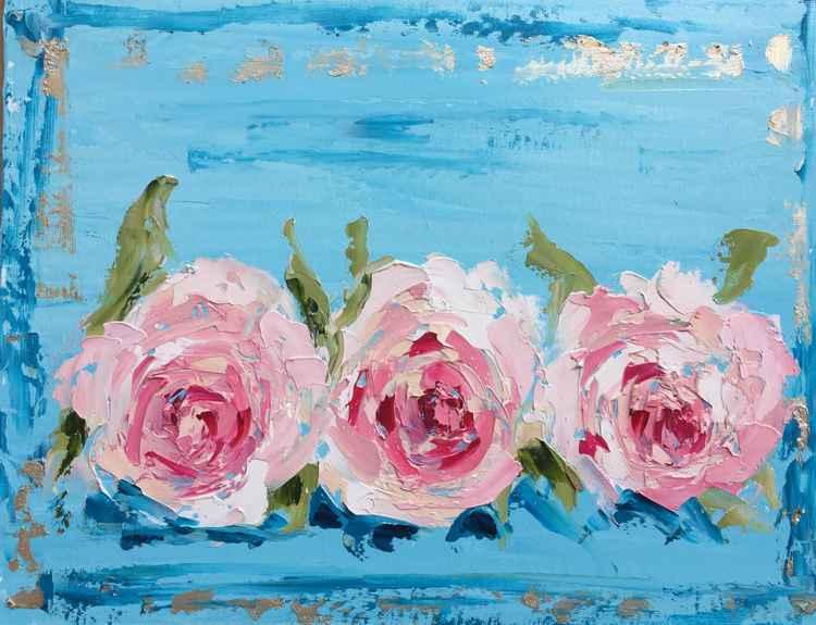 """Vintage Roses  11""""x4"""" -"""