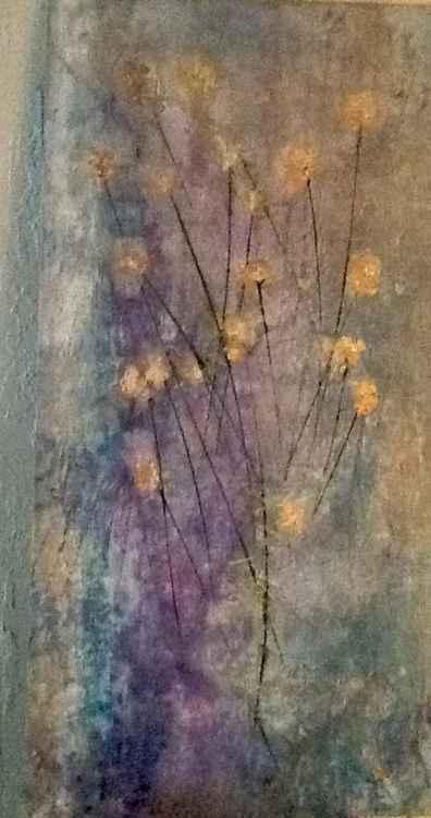 Exhale-Original Painting Surreal Flower Blue Pastel Canvas Art Home Decor